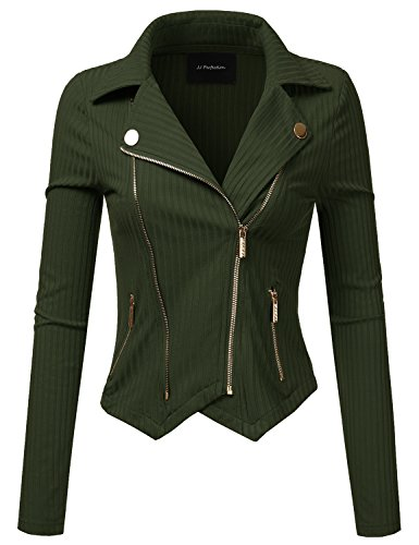 JJ Perfection Womens Long Sleeve Double Zip Up Knit Moto Jacket Outerwear Olive S Beige Womens Jacket