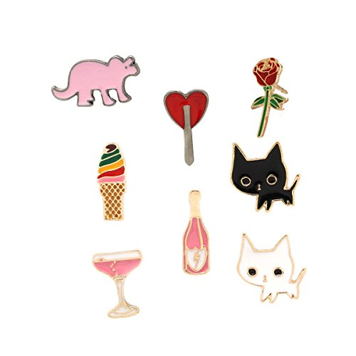 Pin Brooch Fruit (MeliMe Cute Cat Animal Floral Fruits Enamel Brooch Pins Cartoon Lapel Pins Lovely Badge for Women Kids Clothing Decoration (Cat dinosaur cup set of 8))