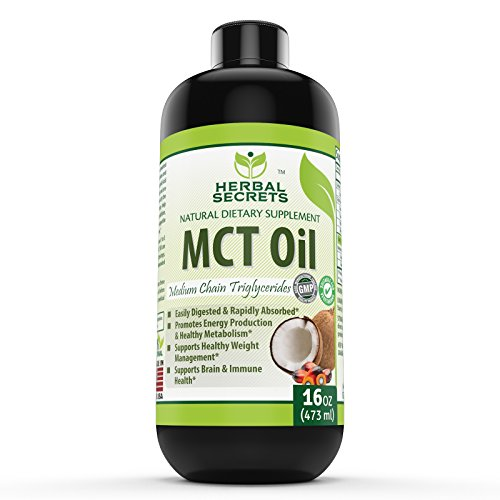 Herbal Secret 100% Pure MCT Oil, 16 Fl Oz - Helps in Weight Management * Maintain Lean Muscle Tissue*