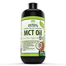 Herbal Secrets 100% Pure MCT Oil, 16 Fl Oz - Helps in Weight Management
