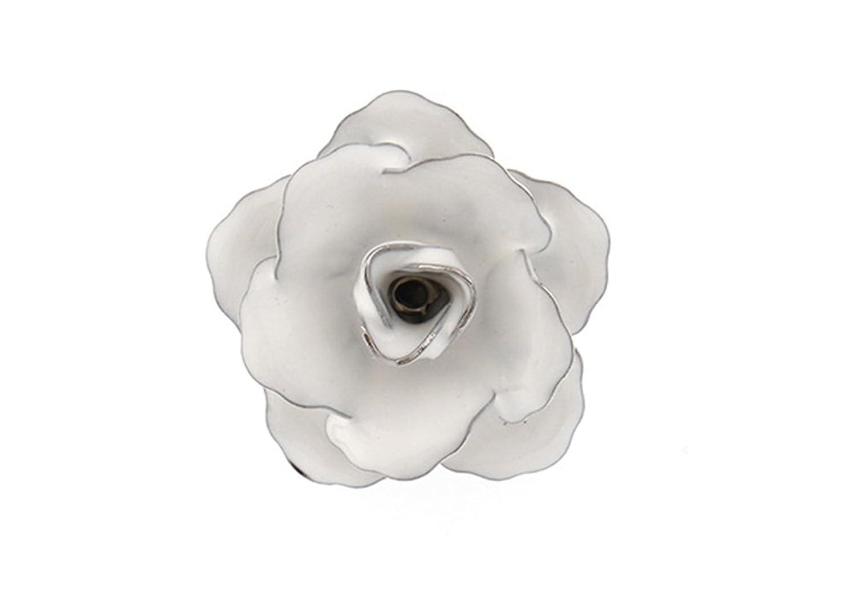 Lucky Bloom Flower Lapel Pin Silver Tone Black Enamel Tie Tack Blossom