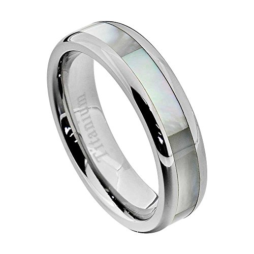FlameReflection 6mm Women's Titanium Ring Wedding Band Mother of Pearl Inlay High Polish Edge Size 5 SPJ