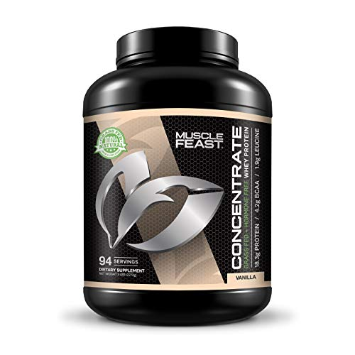 Grass Fed Whey Protein Concentrate by Muscle Feast | Hormone Free and Kosher Certified (5 lbs, Vanilla)