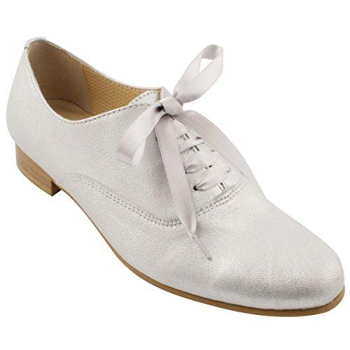 Mujer Cordones de Zapatos Paris Plateado Exclusif para AHXqvTHxw