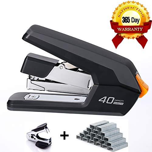 Leven Effortless Desktop Stapler, 40-50 Sheet Capacity, One Finger Touch Stapling, Easy to Load Ergonomic Heavy Duty Stapler, Includes 1500 Staples and Staple Remover