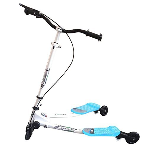 Foldable Kids Mini 3 Wheel Wiggle Swing Tri Slider Y Flicker Scooter&Kick Scooter- Multiple Colors for Age 5+ [US STOCK] (Blue)