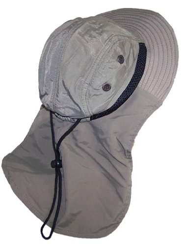 (Tropic Hats Kid/Child Wide Brim Mesh Summer Hat with Neck Flap (One Size) - Olive)