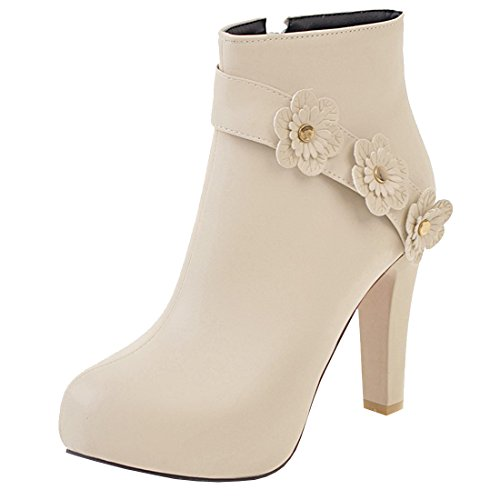 Artfaerie Women's Faux Fur Lined Winter Warm Ankle Boots Fashion Shoes with Flowers Beige