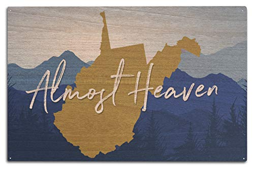 Lantern Press West Virginia - Almost Heaven - State Silhouette and Mountains - Blue and Gold (10x15 Wood Wall Sign, Wall Decor Ready to Hang) (Key Blue West Heaven)