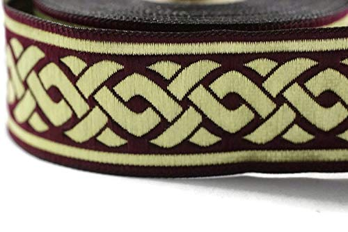 35 mm Gold/Claret red Medieval Ribbon (1.37 inches), Celtic Know Jacquard Ribbon, Jacquard Trim, Fabric Wide Trims, Craft Supplies, Trim (10 Meters/ 32.8 ft) ()