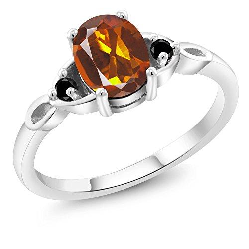 Madeira Citrine Gemstone - 1.17 Ct Oval Orange Red Madeira Citrine Black Diamond 925 Sterling Silver Ring (Size 7)