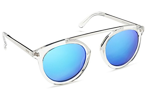 Beach Gal Round Sunglasses With High Bridge For Women - BLUE Mirrored Lens, CLEAR/SILVER - Lucid Sunglasses