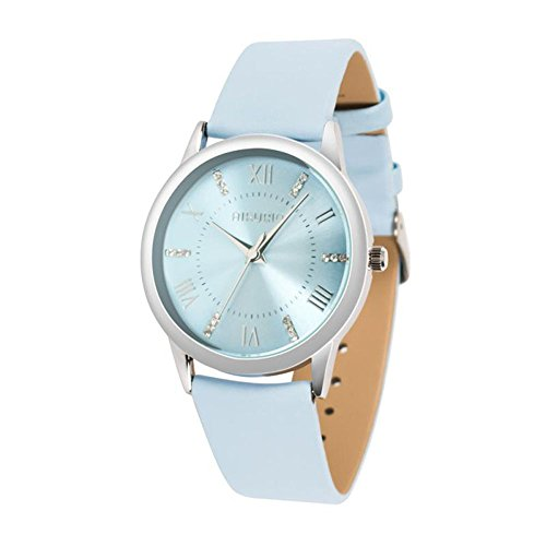 AIKURIO Women Ladies Wrist Watch Waterproof Quartz Watch with Crystal Dial Clock Leather for Female Luxury Fashion business Classic (Light blue) Classic Ladies Wrist Watch