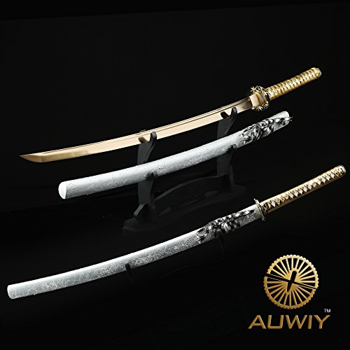 """Samurai Sword,Gold 40"""" Full Handmade High Carbon Steel Japanese Katana Sword"""