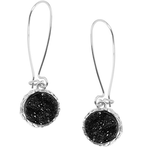 Humble Chic Simulated Druzy Threaders - Upside-Down Long Hoop Dangle Drop Earrings for Women, Black Silver-Tone, Simulated Onyx, Silver-Tone