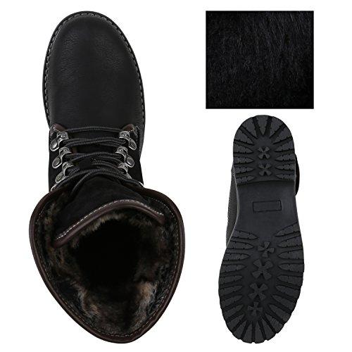 Damen Schuhe Worker Boots Warm gefüttert mit Blockabsatz Flandell Schwarz Berkley