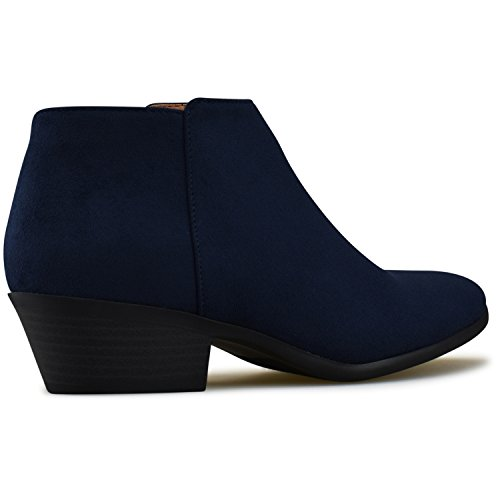 Western Standard Navy Deep Suede Faux Women's Toe Round Premier Stacked Bootie Heel Ankle 8wqdH7WX