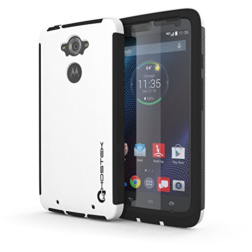 Droid Turbo Case, Ghostek Blitz Series for Motorola Droid Turbo XT1254 Slim Premium Protective Hybrid Impact Hard Cover Carrying Case With Attached Screen Protector Exchange | Rubberized Trim | Non-Slip Grip Smooth Matte Coat | Ultra Fit (White)