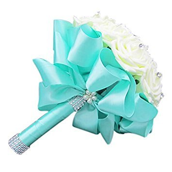 SODIAL(R) Beautiful Wedding Bouquet Bridal Bridesmaid Flower wedding bouquet artificial flower rose bouquet white bridal bouquets-Turquoise Ribbon