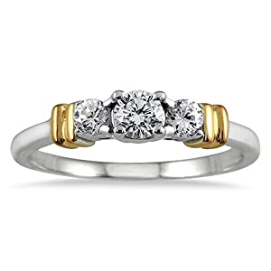 1/2 Carat TW Three Stone Diamond Ring in Two Tone 10K Gold