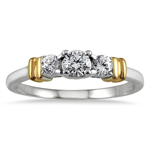 SZUL 1/2 Carat TW Three Stone Diamond Ring in Two Tone 10...