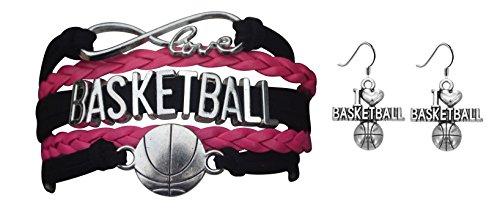 Infinity Collection Basketball Bracelet & Earring Set- Basketball Charm Bracelet & Earrings- Basketball Jewelry- Basketball Gift (Basketball Rings For Teen Girls)