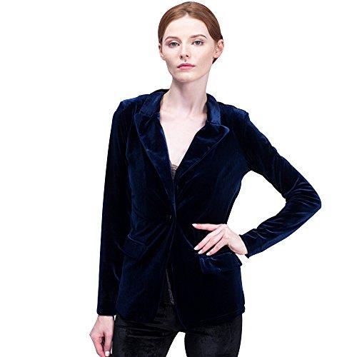 BELLA PHILOSOPHY Women's Velvet Blazer Jacket Warm Coat One Button Outwears Turn-down Collar Top (Blue Velvet Blazer)
