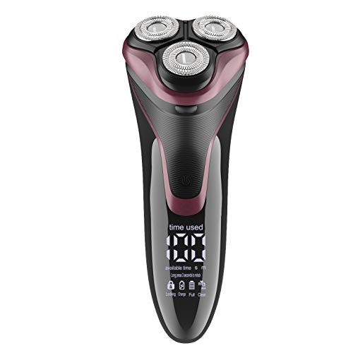 Electric Razor for Men - Lavieer Wet and Dry Rechargeable Mens Rotary Shaver with Pop-up Beard Trimmer Cordless Waterproof, 100-240v Worldwide Travel Universal, Pink