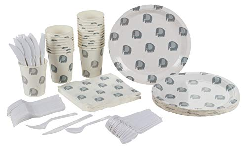 Animal Party Supplies – Serves 24 – Includes Plates, Knives, Spoons, Forks, Cups and Napkins. Perfect Party Pack for Birthday Parties and Baby Showers, Elephant Pattern