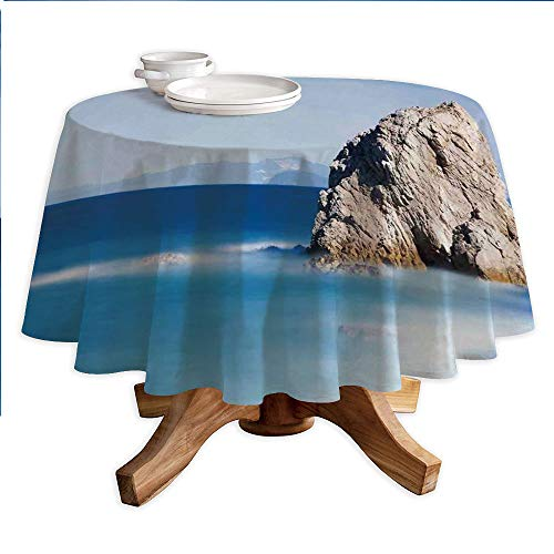 Scenery House Decor Round Polyester Tablecloth,Big Formless Rock Italian Sea and Sky European Secret Paradise Art,Dining Room Kitchen Round Table Cover,60