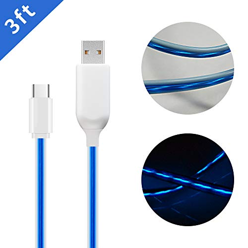 MKDGO 3ft Flat USB Type C Data Cable LED Light up Flowing Charging Cords for All USB C Smartphones Tablets Laptops - Blue Light