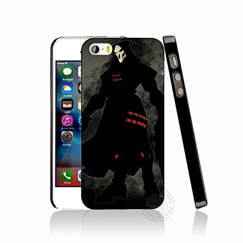 CH Black Grey Overwatch iPhone 7 Plus Sized Case Bigger Screen Red Gray Reaper I Phone 8 Plus Cover Over Watch PC Gaming Theme Gun Game Shooter Multiplayer First Person Computer Game, Hard Plastic