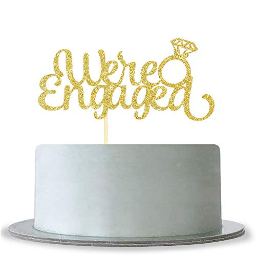We're Engaged Cake Topper Gold Glitter Mr and