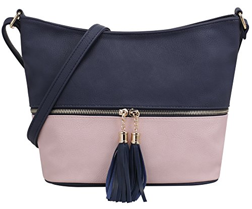 DELUXITY Medium Size Hobo Crossbody Bag with Tassel Zipper Accent  (Navy Pink) 9148dd81b7
