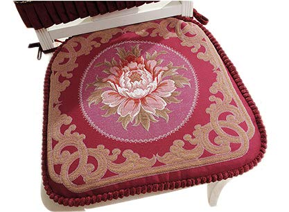 Sideli Red Chair Cushion Set of 2 Classic Decorative Chair pad Seat Cushion with Memory Filling and 2 Belt for Fix 16