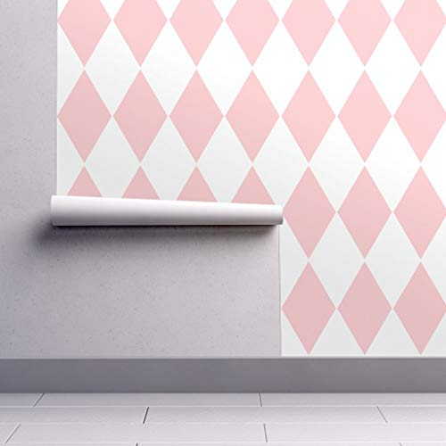 Large Harlequin Wallpaper - Peel-and-Stick Removable Wallpaper - Harlequin Harlequin Diamond Geometric Dauphine Pink White Girl by Peacoquettedesigns - 24in x 108in Woven Textured Peel-and-Stick Removable Wallpaper Roll