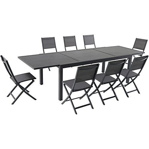 Hanover NAPDN9PCFD-GRY Naples Dining Set, Gray -