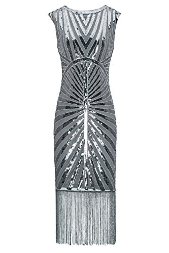Metme Women's 1920s Classic Beaded Cocktail Party Dress Fringe Embellished for Cocktail Gatsby Party (L, Grey) ()
