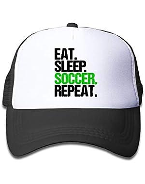 Eat Sleep Soccer Repeat-1 On Children's Trucker Hat, Youth Toddler Mesh Hats Baseball Cap