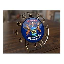 FanPlastic States and Territories of The USA Desktop/Shelf Clocks - Brand New and Unique Circular State Flag Designs - Size 7 X 7 X 2 !! (Michigan Flag Desktop Clock)