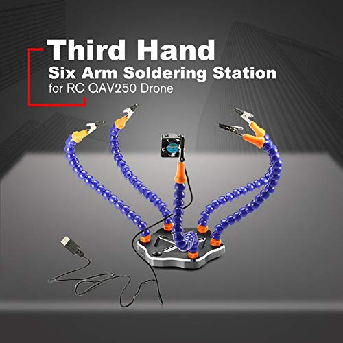 Strange Third Hand Six Arm Soldering Station with USB Fan for RC QAV250 Drone
