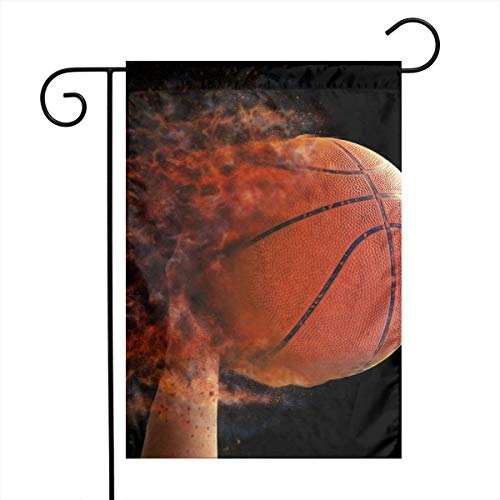 OLGCZM Basketball Fire Home Flag,Weather Fade Resistant Garden Welcome Flags for Party Yard Outdoor Decor,12x18 Inches