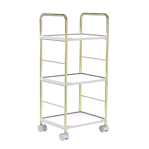 SALT Bathroom Rolling Cart in Soft Gold/White (White And Gold Shelves)