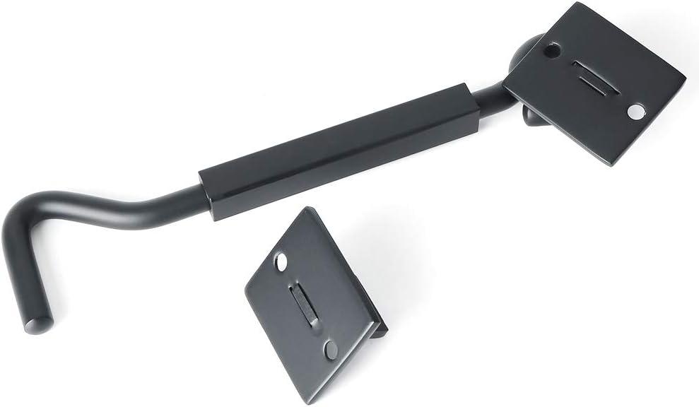 CMC7001B-6 Sayayo Heavy Duty Cabin Door Hook Eye Catch Window Latch 6 Inch Stainless Steel Matte Black 10.07mm-Dia