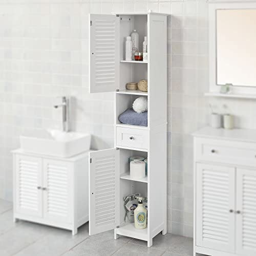 Haotian White Floor Standing Tall Bathroom Storage Cabinet With Shelves And Drawers Linen Tower Bath Cabinet Cabinet With Shelf Frg236 W Amazon Ca Tools Home Improvement