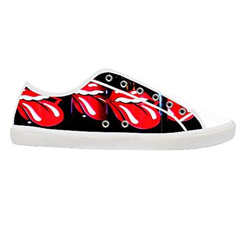 Men's White Casual Canvas Shoes The Rolling Stones Canvas Shoes 9M