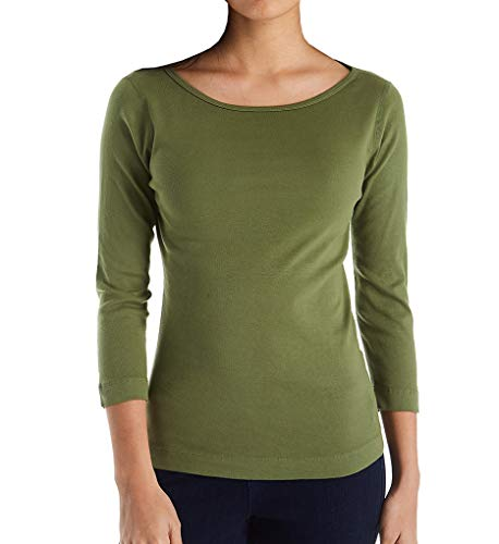 Dots Spanish - Three Dots Women's 100% Cotton Heritage Knit 3/4 Sleeve British Tee Spanish Olive Medium