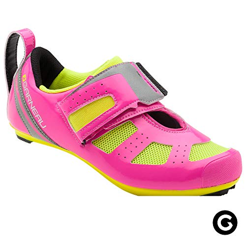 Louis Garneau Women's Tri X-Speed III Triathlon Cycling Shoes for Racing and Indoor Biking, Compatible with Major Road and SPD Pedals, Pink Glow/Bright Yellow, US (8), EU (39) (Best Cheap Triathlon Bike)