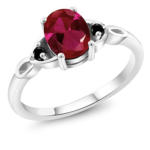 1.22 Ct Oval Red Created Ruby Black Diamond 925 Sterling Silver Three Stone - 1.22 Ct Radiant Diamond
