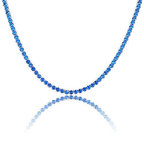 Hip Hop Diamond Necklaces - JINAO 1 Row 4MM Diamond Iced Out Chain Silver Plated Macro Pave CZ Hip Hop Tennis Necklace (Blue 22'' Chain)